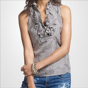J. Crew silk tank with Ruffle front gray hearts
